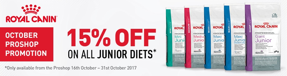 Royal Canin 15% off on Junior diets